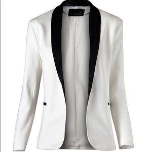 Mango White / Black Contrast Lapel Blazer Size S